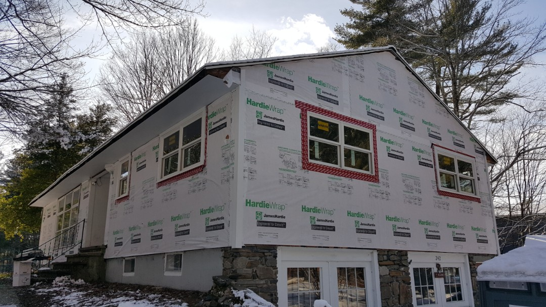 Groton, MA - Yes, we install all year round. This is a home in Groton where we are installing #JamesHardie #FiberCement #Clapboard #Siding.  House is now wrapped with #Hardie #Wrap. We also installed #Marvin #Infinity #Windows in the house.  #SolidStateConstructionMA  #MyHardieHome