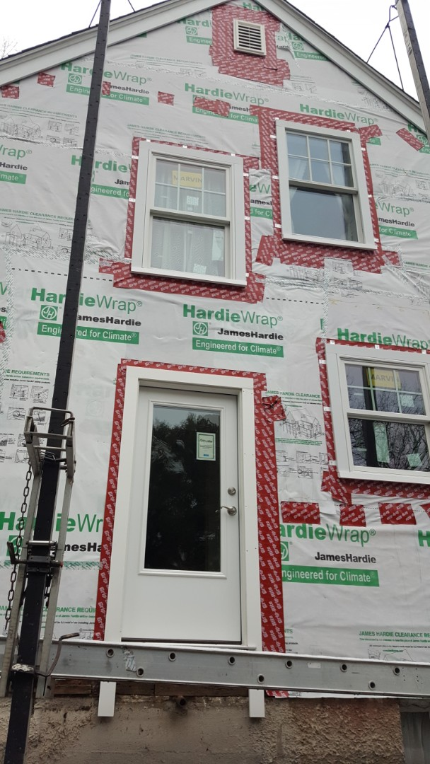 Needham, MA - Checking in at our jobsite in Needham, MA where just installed #Marvin #Infinity #Windows and #Provia #Door. We had wrap the home with Engineered for Climate  #Hardiewrap readying the home for the installation of #JamesHardie #FiberCement #Siding.  We also installed #GAF #TimberlineHD #Asphalt #Roof #Shingles on this home.   #SolidStateConstructionMA  #MyHardieHome