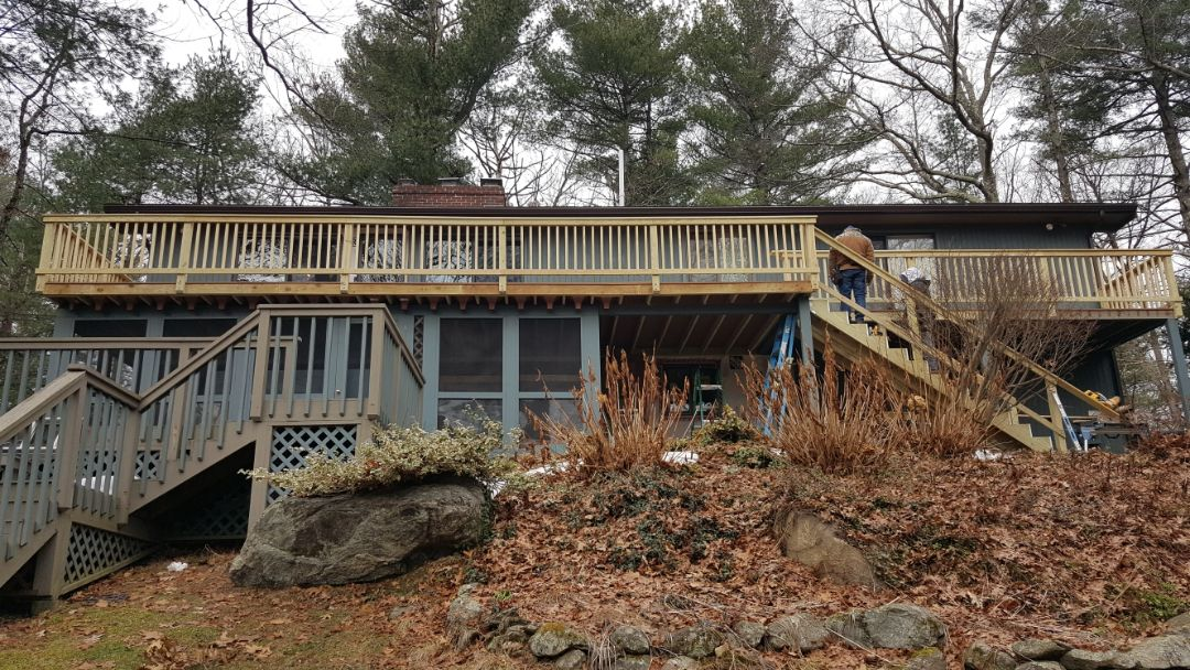 Acton, MA - Decking work in progress in Acton, MA.    #SolidStateConstructionMA  #Azek #Decking