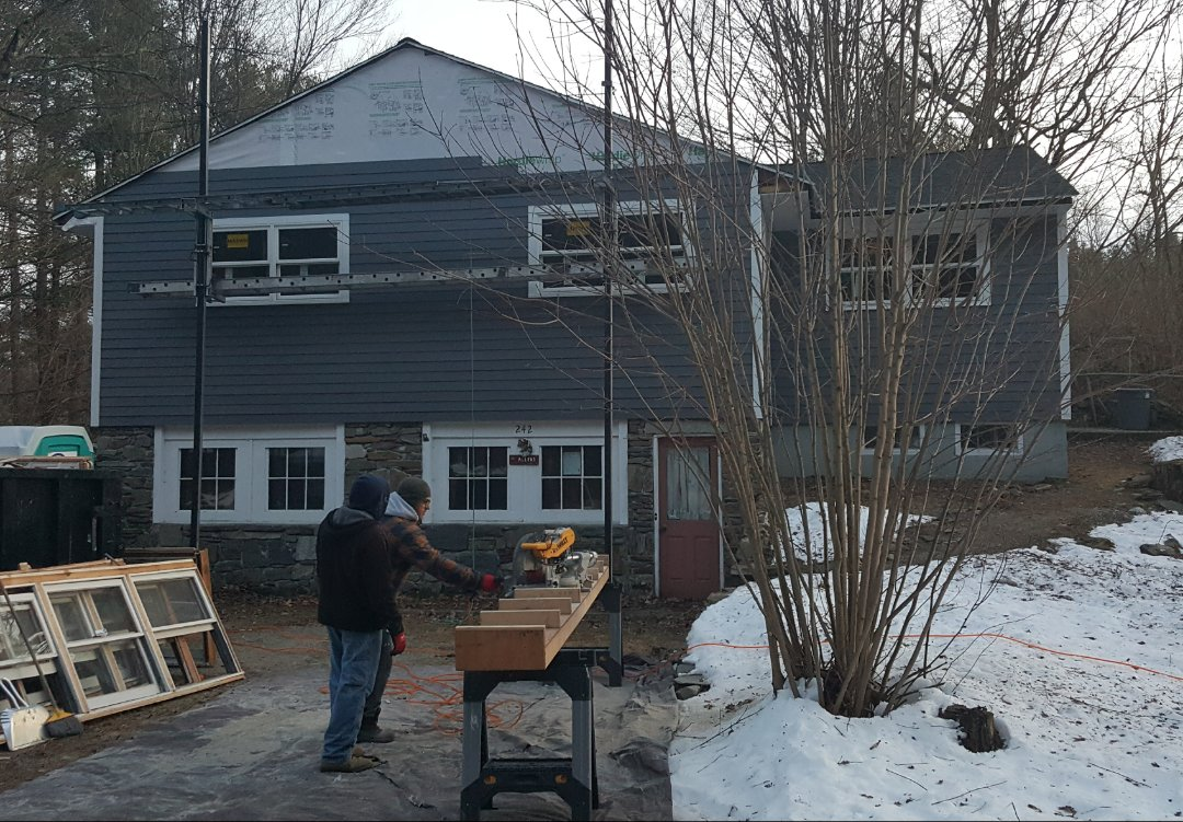 Groton, MA - Checking the job in progress where our crew are installing #JamesHardie #FiberCement #Clapboard #Siding in this home in Groton, MA. We also installed the new #Marvin #Infinity #Windows in the home.   #SolidStateConstructionMA  #MyHardieHome