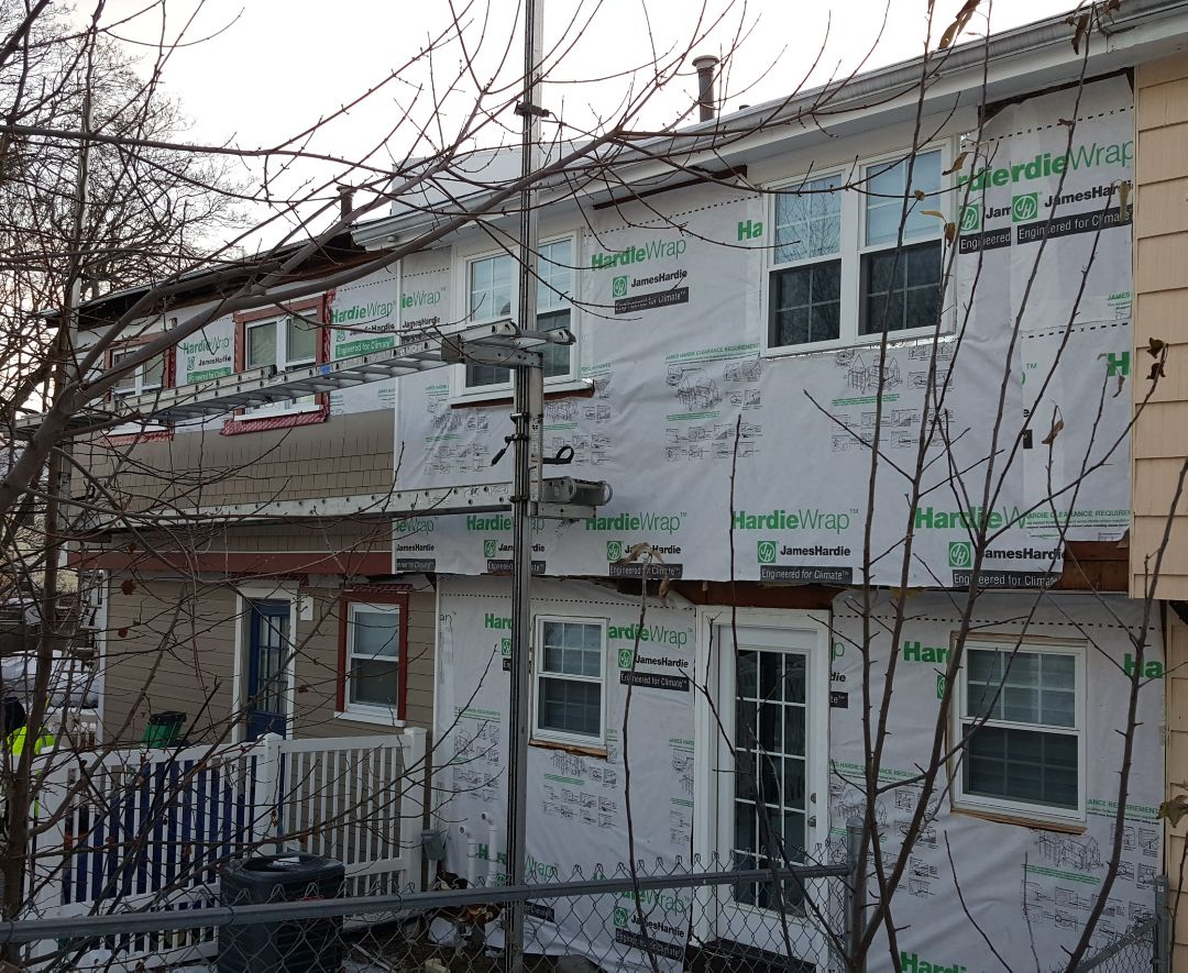 Boston, MA - Checking in at our siding projects in Allston, MA. On the corner unit,  we are installing a combination of #JamesHardie #FiberCement #Clapboard and #Straight #EdgedPanel #Shingles     #Siding in #KhakiBrown color with #RustyNail Color trim.   The other unit will be with the color from the #Hardie #DreamCollection with  the color #GulfOfMaine  #SolidStateConstructionMA  #MyHardieHome