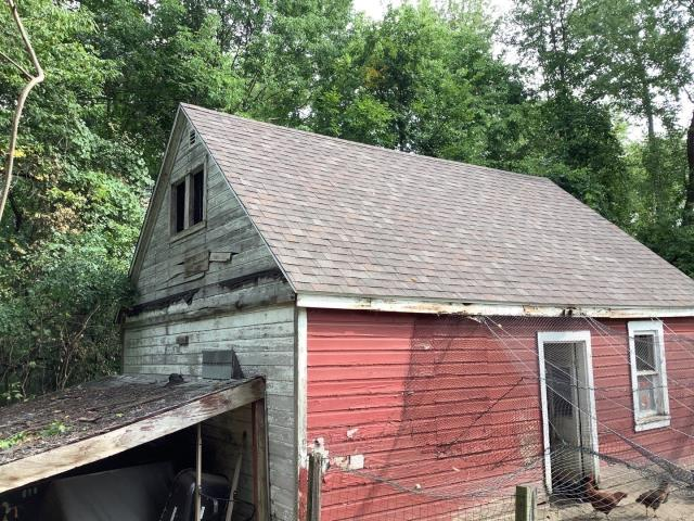 Plymouth, MI - Definitely one of the cooler jobs we've done, did a full replacement on a chicken coop! They didn't chicken out on getting what they deserve.  #exceptionalroofingmadeeasy