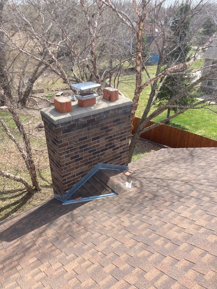 Andover, MN - Chimney clean and smart scan flue liner inspection. Install 8x13 screen/rain cover