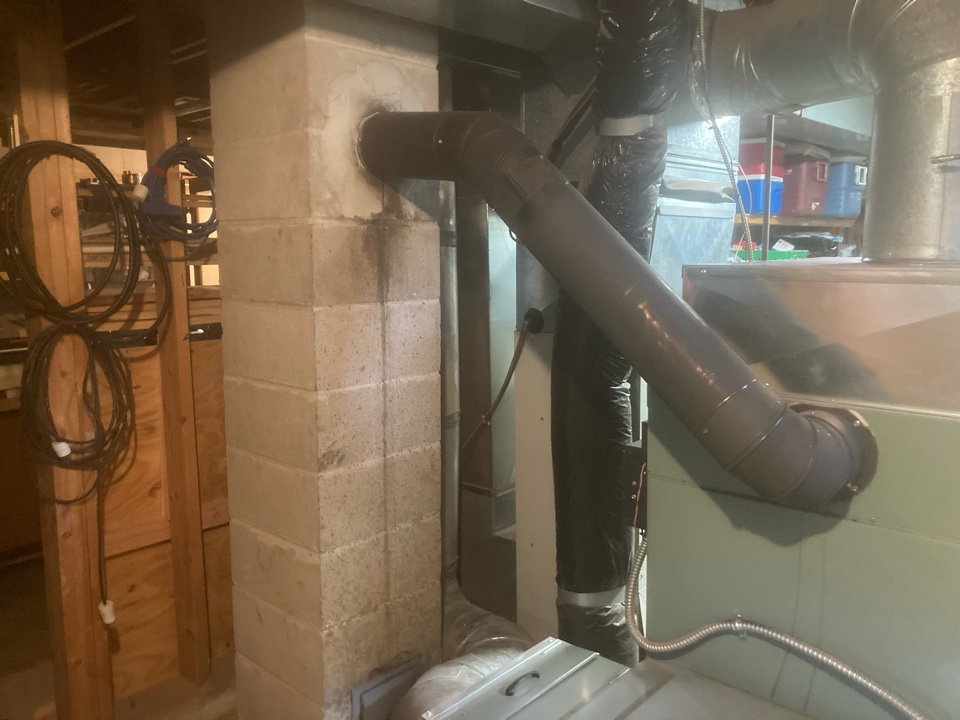 """Bethel, MN - Dryer vent cleaning - chimney cleaning and smartscan flue liner inspection- booked for roofline rebuild and a new 6"""" lining system"""