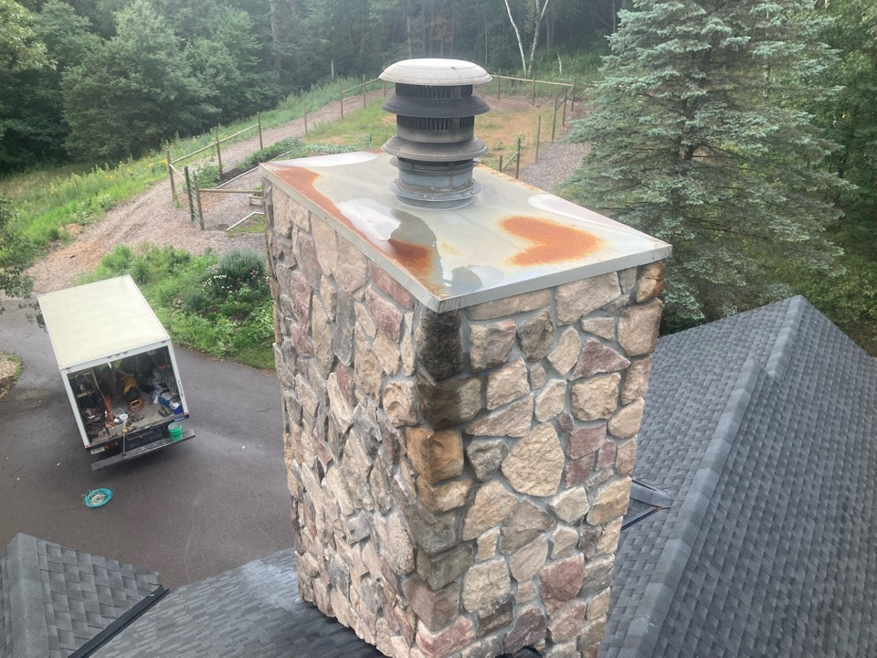 """Stillwater, MN - Chimney cleaning and smartscan flue liner inspection- dryer vent cleaning - new 5"""" and 6"""" caps - proposal for new refractory panels and chase top replacement"""