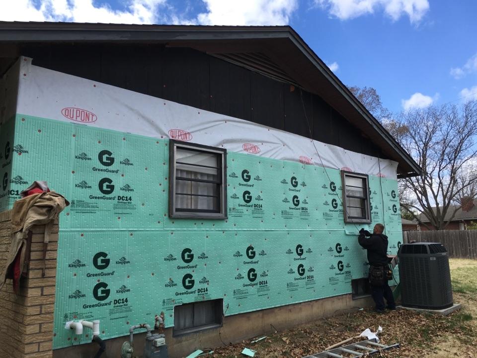 Wichita, KS - Tear off. Tyvek house wrap. Green Gard drainage board. In preparation for Everlast polymeric cladding.