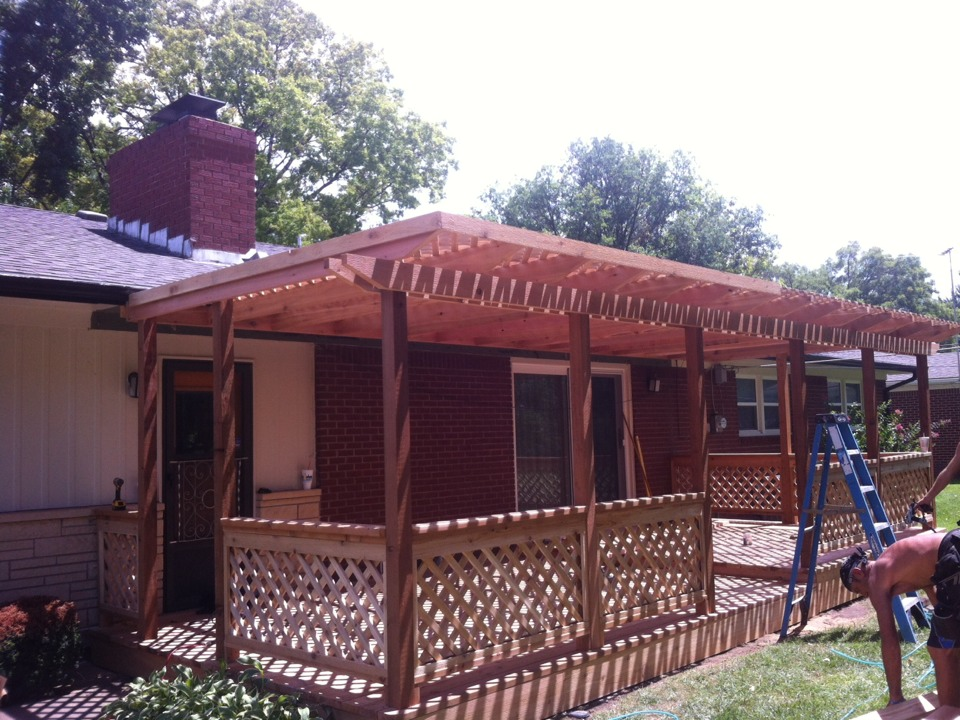 Wichita, KS - Just about all done with this deck and pergola.... Final pictures to come in a day or so.... All Cedar...& beautiful!!