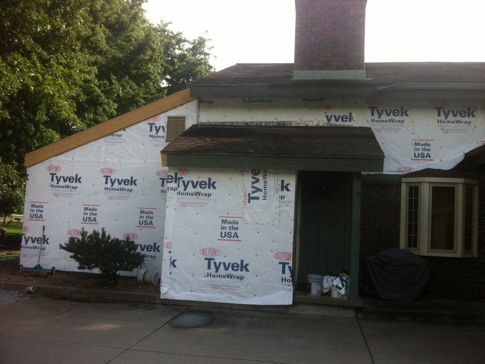 Valley Center, KS - Tyvek going up and 2x 12 cedar fascia on this very large job... Lots of prep work going on here and the LP Duocolor will be going up soon...