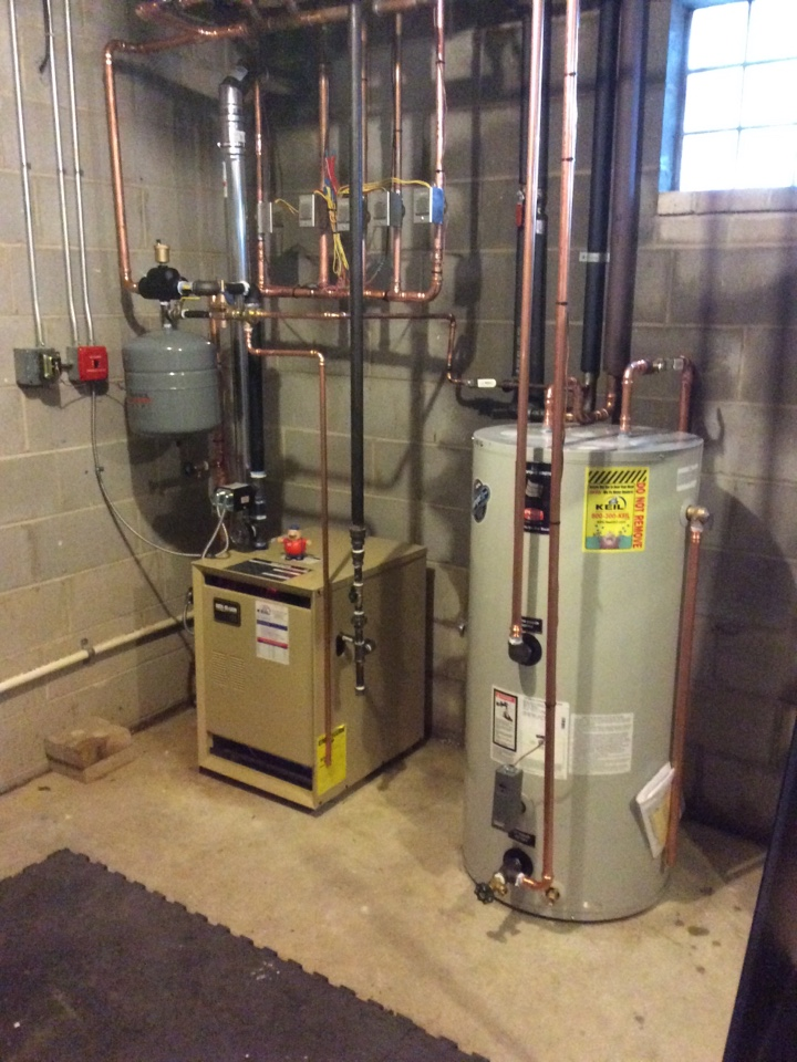 Little Falls, NJ - Install Weil McLain gas fired water boiler with Bradford White 50 gallon storage tank near little falls