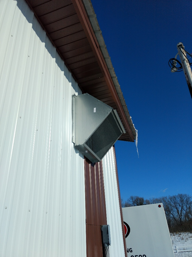 Harris, MN - Installation of exhaust fan hood.
