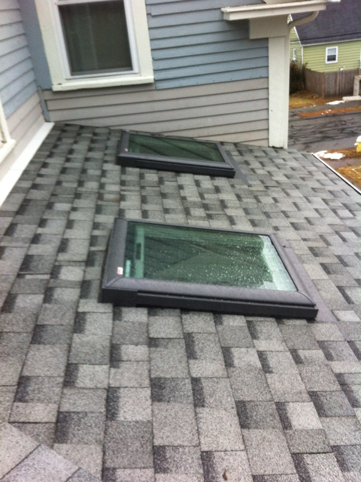 Danvers, MA - Checking on the final product on a recently completed reroof and new skylites project in Danvers