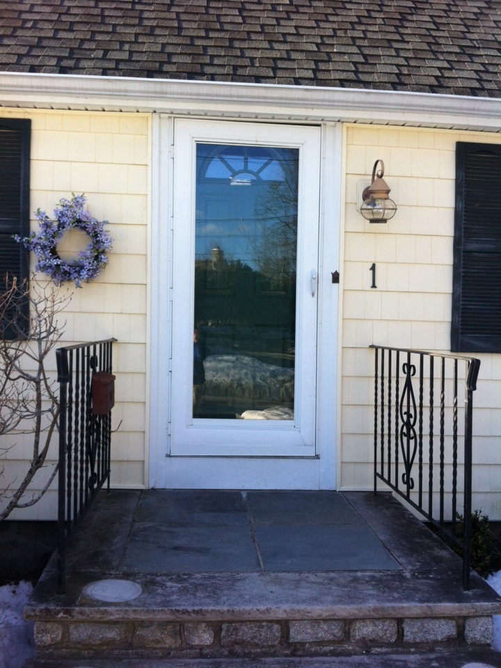 Marblehead, MA - Estimating prefinished entry doors and storm doors for a previous vinyl siding customer in Marblehead