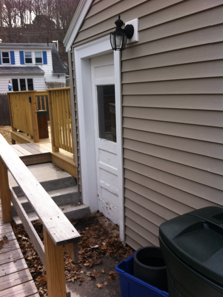 Peabody, MA - Looking at a challenging entry door replacement project for my customer in her new home in peabody. I followed her from her last house in Beverly where I did vinyl replacement windows, entry doors and gutter protection
