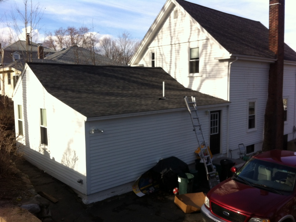 Danvers, MA - Securing a roof project on a job where the customer experienced a decent amount of interior damage from an ice dam situation on a relatively new roof that most likely is lacking ice and water protection so it has to be stripped and done by a professional now