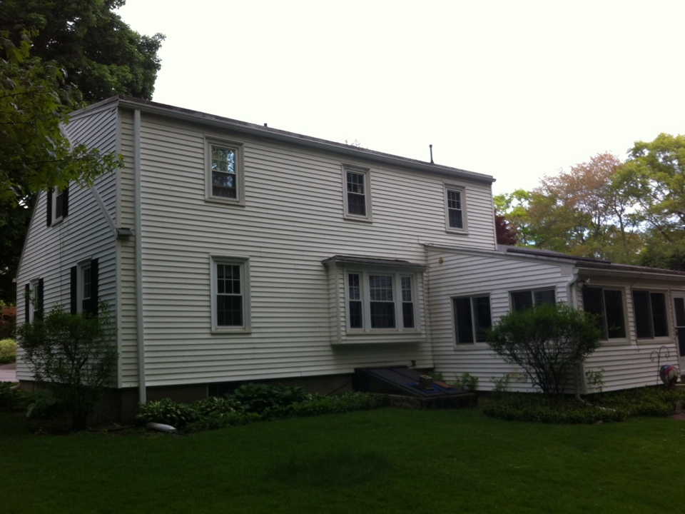 Andover, MA - Checking on a gutter project we just completed that was an ice dam disaster for the owner this past winter