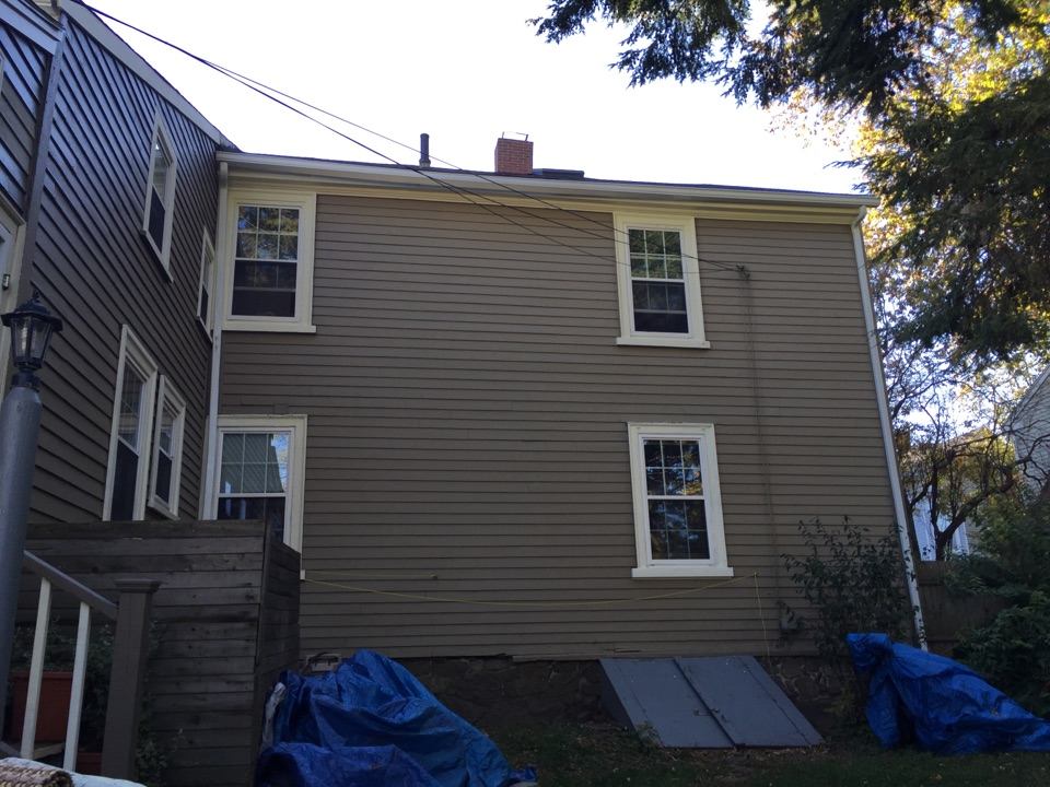 Beverly, MA - Estimating a gutter protection project for a n old house with very beveled fascia and huge ice dam issues in Beverly