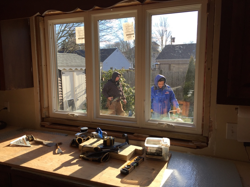 Marblehead, MA - Working on a full tear out, triple casement replacement vinyl window in Marblehead
