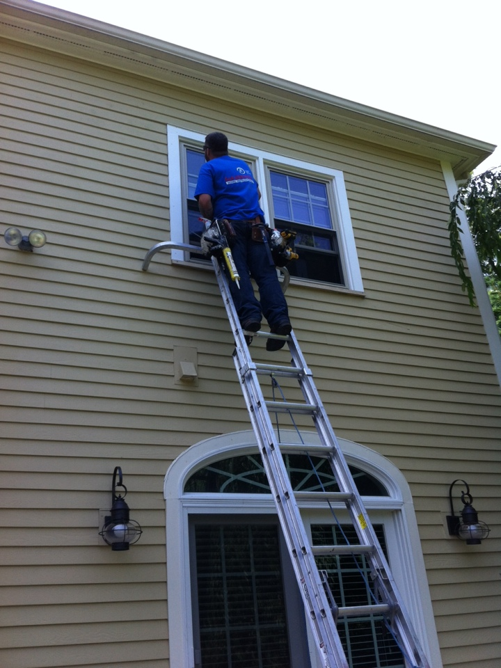 Swampscott, MA - Installing replacement windows in Swampscott ma. We are installing from the exterior and replacing exterior trim with azek trim boards.