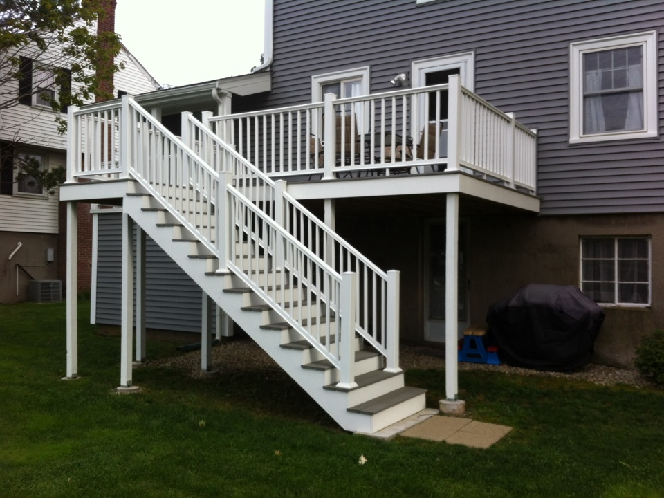 Swampscott, MA - Checking on a recently finished porch maintenance free carpentry project in Swampscott Ma
