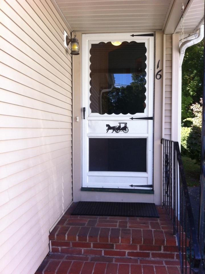 Danvers, MA - Estimating an entry door/storm door combo project for a previous window customer in Danvers Ma