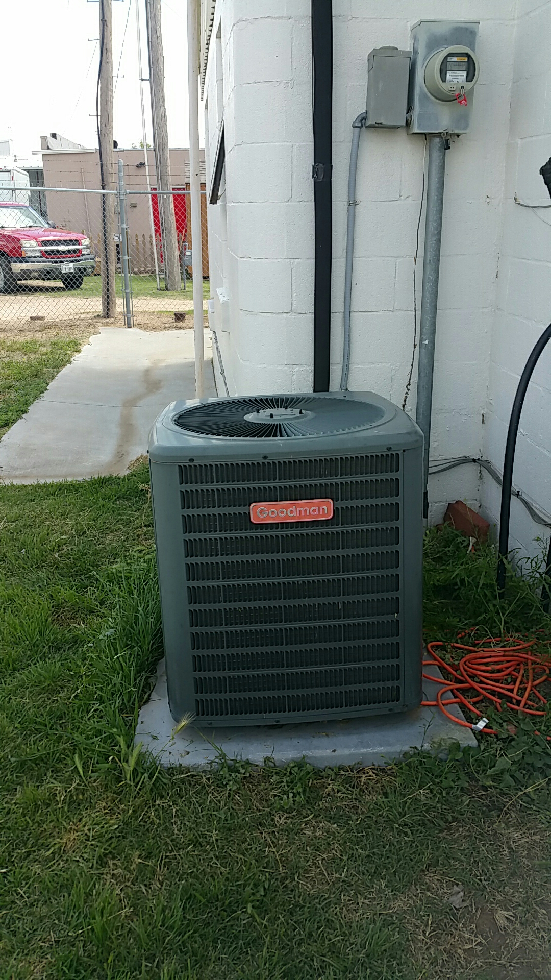 Happy, TX - Servicing Goodman system and repaired refrigerant leak on system!