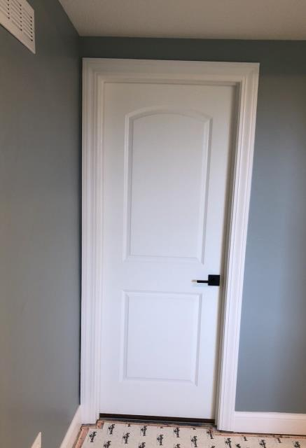 Raymore, MO - White 2 panel door with dark bronze handle.  A great update to give a room a newer look.
