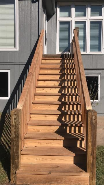 Raymore, MO - To avoid wood rot and ensure safety, be sure to use proper materials when building stairs, decks or patios outside, such as cedar or treated lumber.