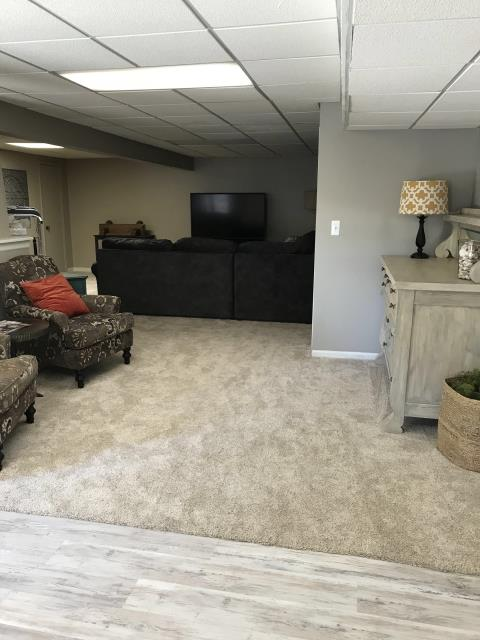 Lee's Summit, MO - New carpet in your basement will freshen up a dark space- add a fresh coat of Sherwin Williams paint for a whole new look!