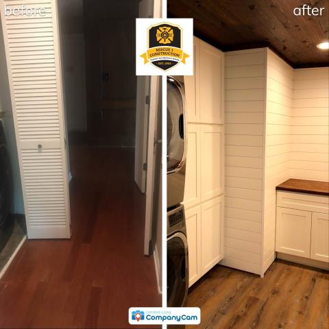 Lee's Summit, MO - Before and after- open up walls, shift laundry area and add tons of storage.  This is a great investment for a home owner!