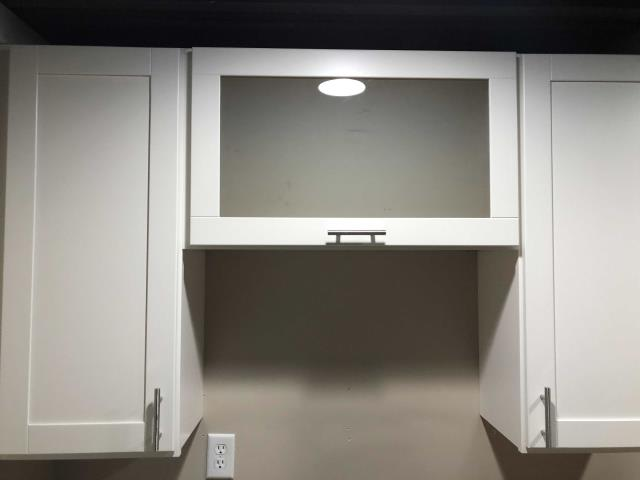 Kansas City, MO - Cabinets with glass fronts are a nice alternative to a regular door.  They add a nice touch to a room and give a more unique look.