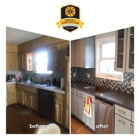 Kansas City, MO - This kitchen transformation is amazing.  The glass front cabinets add a different dimension