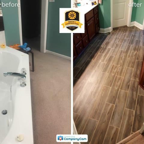 Lee's Summit, MO - Going from carpet to tile in a bathroom improves functionality and freshens things up.