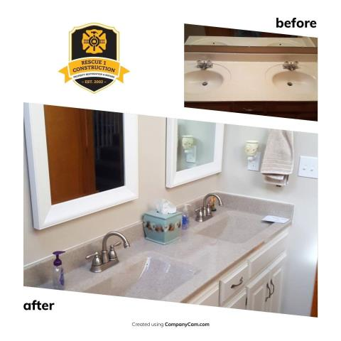Look at this transformation.  This bathroom is now light and bright.