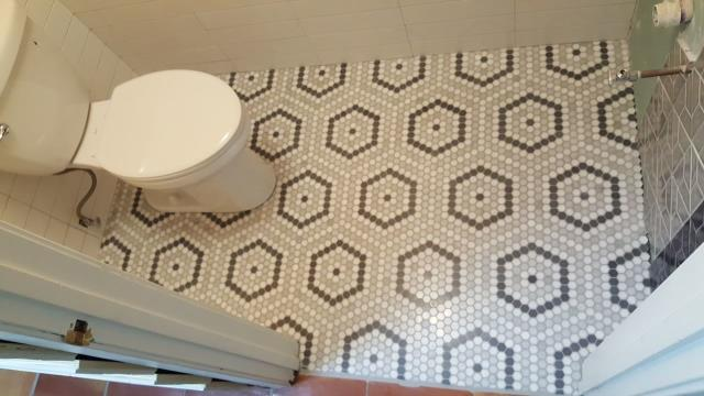 Hexagon pattern floor tiles add a wonderful design flair!