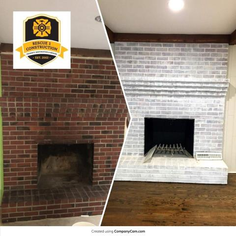 Whitewashing a brick fireplace adds new life to the room.