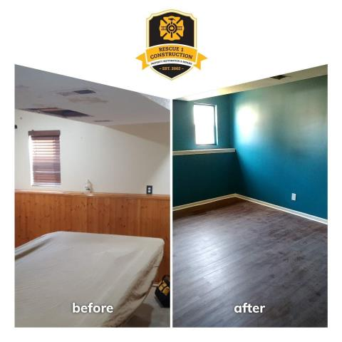 Look at this transformation!  The new flooring and bold paint color gave a nice update to this room.