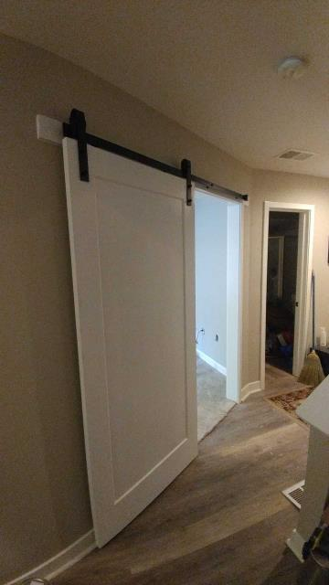 Barn doors can be great space savers.