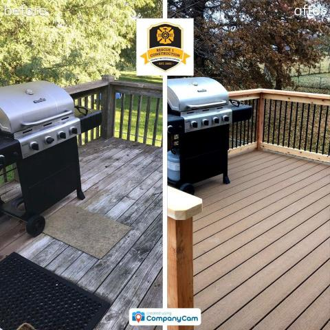 Beautiful deck transformation using composite decking.