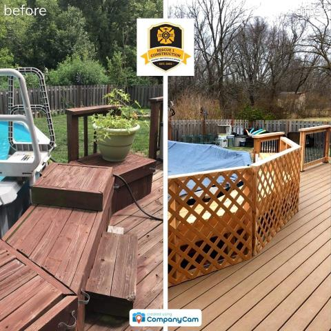 This deck has been totally redone,  It is now made of composite decking.  It looks like wood but is more durable.