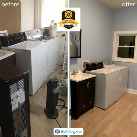 This laundry room received a major overhaul.  A door was changed to a window, new flooring, paint, and vanity.