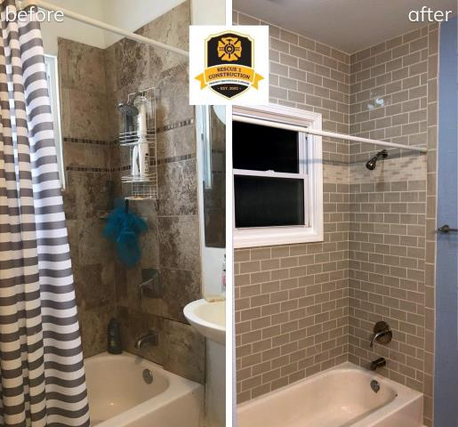 When renovating your bathroom, you can leave the original tub and just change out the tile surround.  This was an amazing transformation.