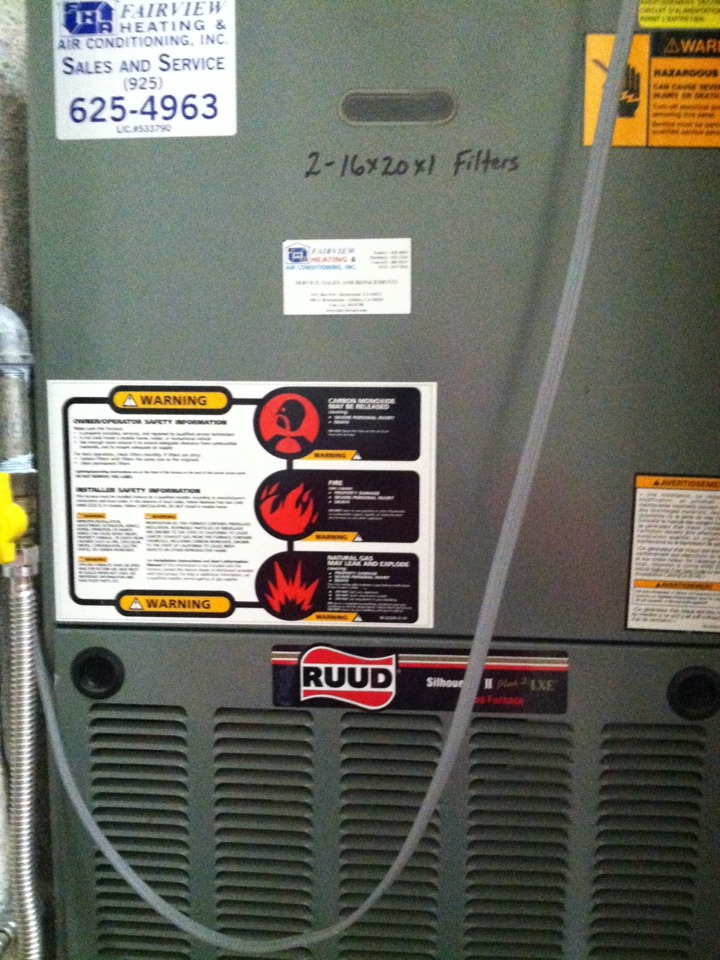 Pittsburg, CA - Installed new replacement pressure switch in 12 year old ruud furnace and tested heat operation