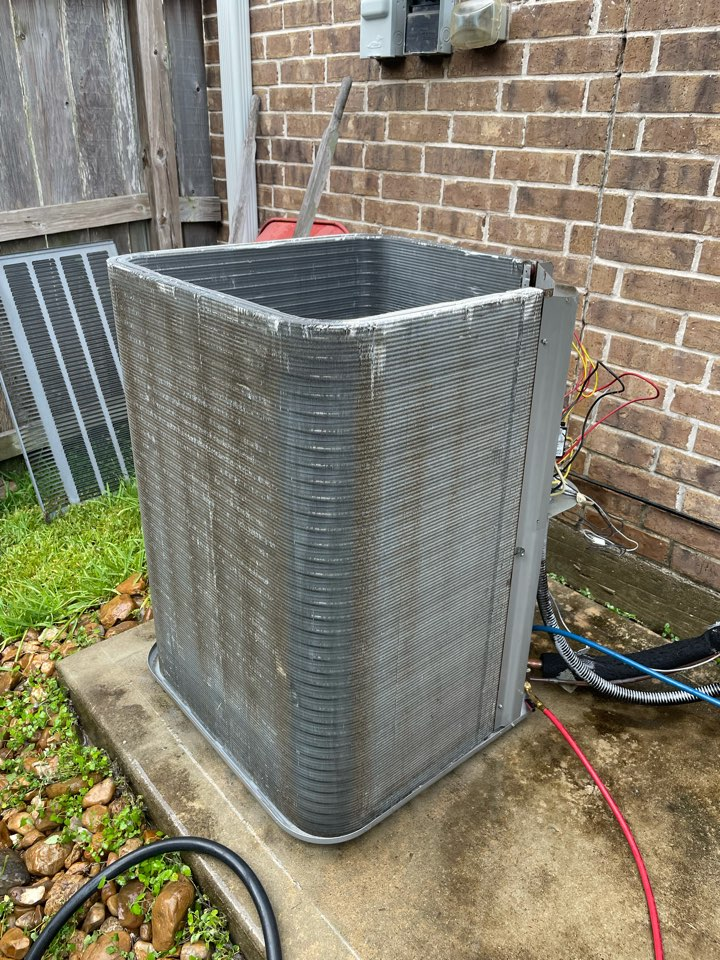 Katy, TX - A/C not cooling properly. Wash outside to allow for better airflow across the condenser coil.