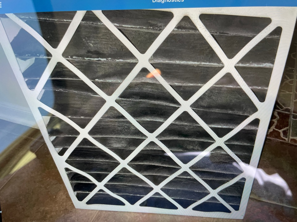 Katy, TX - A/C not working. Frozen evaporator coil due to clog air filter.