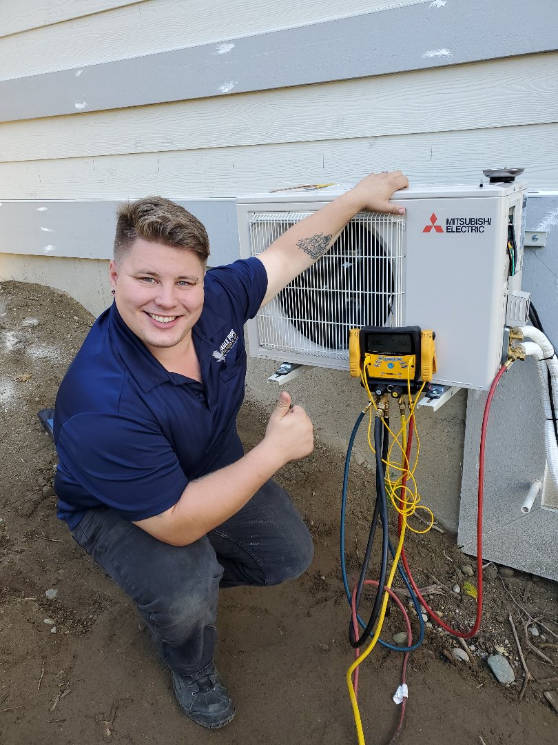 Kingston, WA - Installing a Mitsubishi mini split. Heating and air conditioning