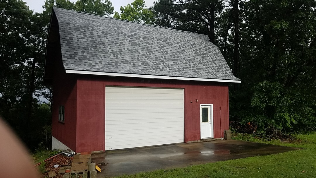 Eureka Springs, AR - Roof replacement complete on barn, due to wind and hail damage. Owen's Corning Oakridge (Sierra Gray)