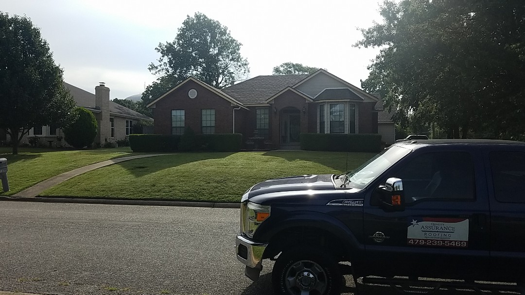 Rogers, AR - Full roof replacement complete in Rogers, AR. This is an Owens Corning Oakridge (Driftwood). Quality Assurance Roofing was able to get the entire roof paid for by the home owners insurance carrier due to hail damage. Call Quality Assurance Roofing for your free inspection today (479-239-5469)