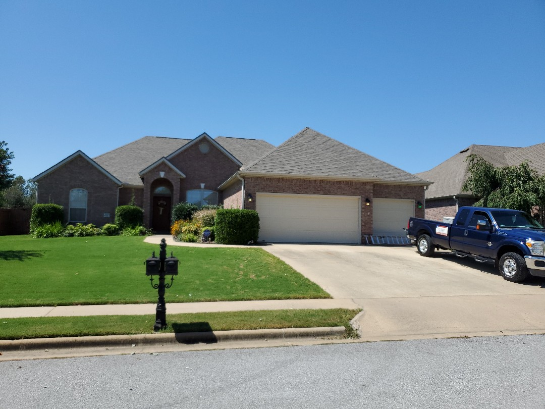 Rogers, AR - Full roof replacement complete in Rogers. This is an Owens Corning Oakridge shingle (Driftwood) Quality Assurance Roofing was able to get the entire roof paid for by the home owners insurance company due to hail damage. Call Quality Assurance Roofing today for your free inspection (479-239-5469)