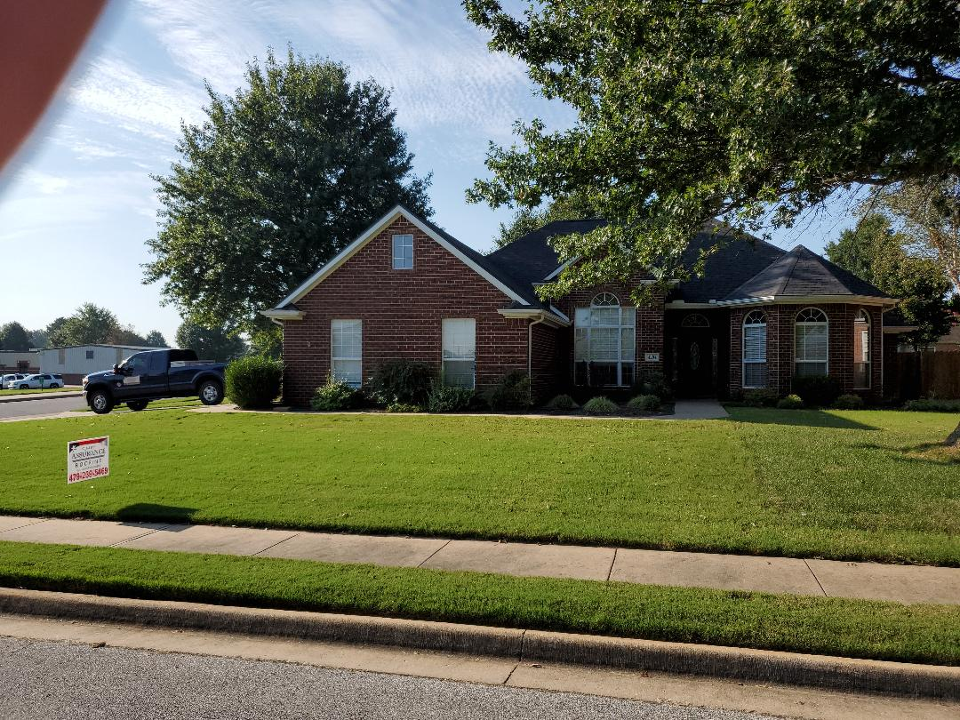 Rogers, AR - Full roof replacement complete in Rogers. This is an Owens Corning Oakridge shingle (Onyx Black). Quality Assurance Roofing was able to get the entire roof paid for by the home owners insurance company due to hail damage. Call Quality Assurance Roofing today for your free inspection (479-239-5469)