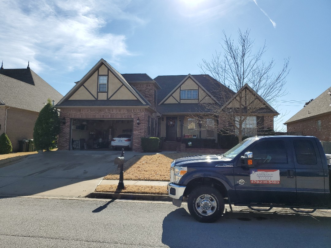 Rogers, AR - Full roof replacement complete in Rogers. This is an Owens Corning Oakridge shingle (Driftwood). Quality Assurance Roofing was able to get the entire roof paid for by the home owners insurance company due to storm damage. Call Quality Assurance Roofing today for your free inspection (479.239.5469)